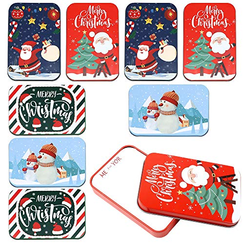 Moretoes 8 Pack Assorted Christmas Gift Card Tin Holder Box Set for Card and Gift