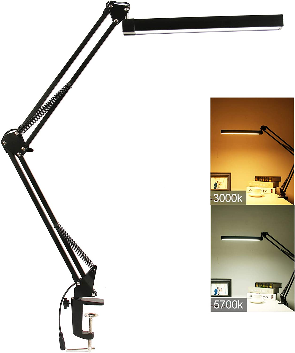 YOUKOYI A16S Metal LED Swing Arm Desk Lamp, Dimmable Architect Drafting Lamp Clamp for Study Reading Office Work, 3 Brightness Levels, 2 Color Modes, Touch Control