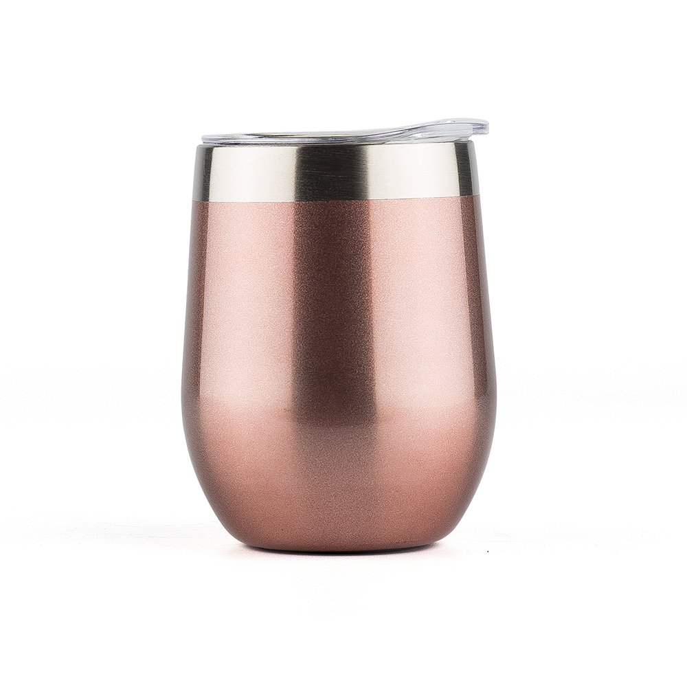 DOKIO Wine Glasses Sippy Cup 12 oz Tumbler Rose Gold Stemless Double Wall Vacuum Stainless Steel Insulated With Lid Unbreakable For Ice Hot Drink Coffee Champagne Cocktail Mug For Bridesmaid