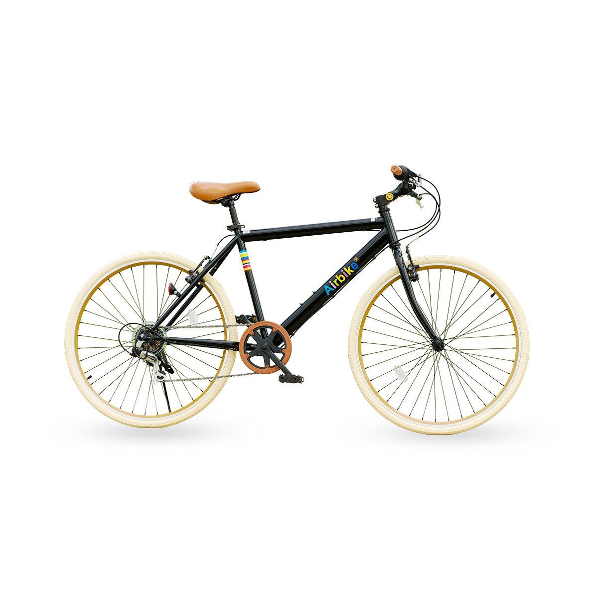 Airbike クロスバイク 自転車 26インチタイヤ シマノ7段変速 B01JING3VE ブラック×ナチュラル ブラック×ナチュラル
