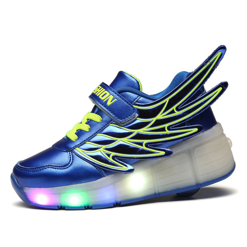 A2kmsmss5a Boys Girls Casual Wings Glowing LED Light Up Shoes Roller Skating Shoes