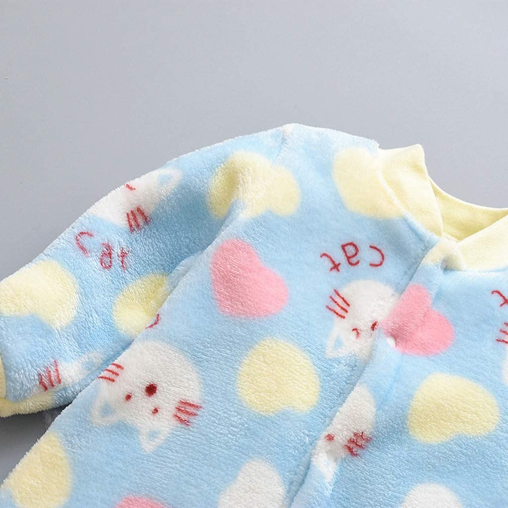 Blue,73 Fabal Newborn Infant Baby Cartoon Fleece Warm Romper Jumpsuit Soft Pajamas for Thanksgiving Party Daily Holiday