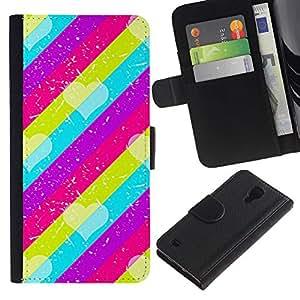 A-type (Pattern Pink Teal Purple Lines) Colorida Impresión Funda Cuero Monedero Caja Bolsa Cubierta Caja Piel Card Slots Para Samsung Galaxy S4 IV I9500