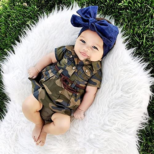 61iDyx bbRL. AC - IWOKA Baby Girl Camouflage Long Sleeve Bandage Skirts+Green Short Pants Outfit Casual Clothes