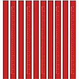 BUSHIBU Flat Premium Quality Carpenter's Pencil(Red), Medium Hard Graphite Lead Natural Wood Cased Pencils for Professional U
