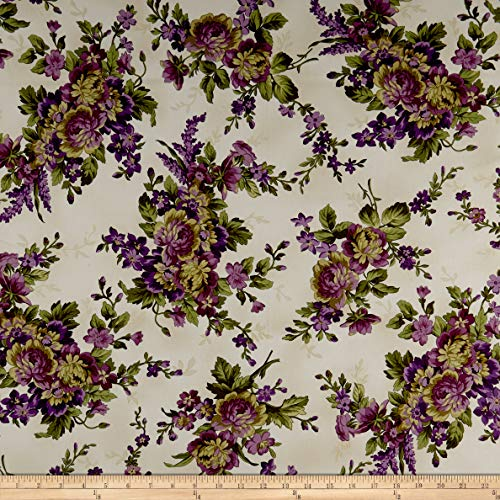 Maywood Studio Aubergine Elegant Floral Fabric, Ivory, Fabric By The Yard