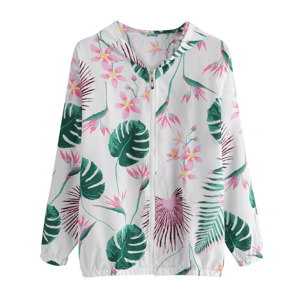 Women's Casual Short Floral Lightweight Fall Jackets Zip Up Bomber Coat(Green,S)