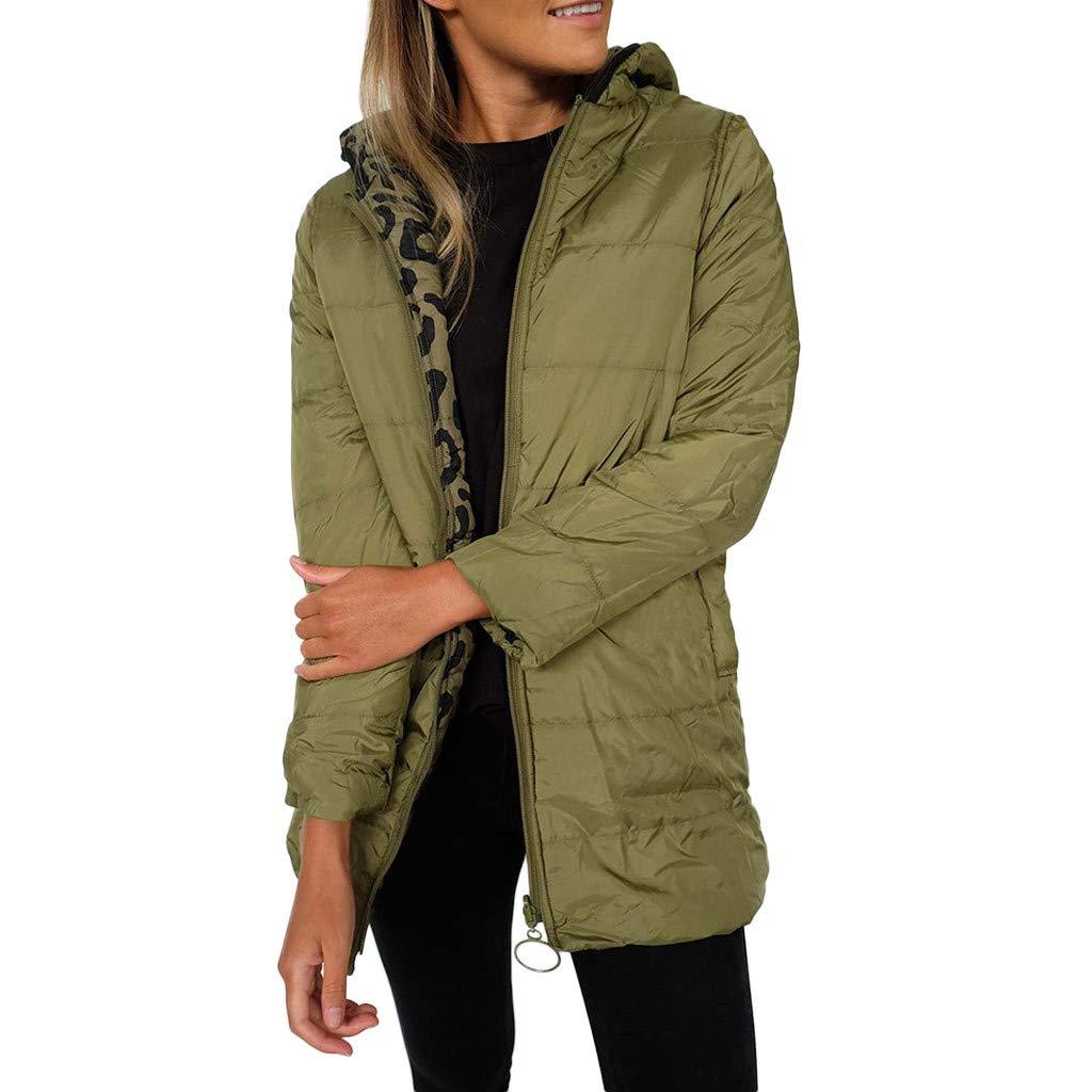 Fitfulvan Women's Two-Side Wear Long Sleeve Pullover Blouse Open Front Jacket Coat Zipper Outerwear Green