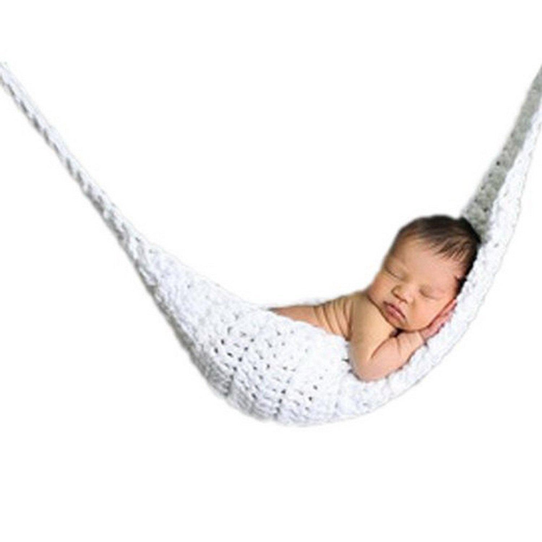 Vogholic Strick Nette Unisex-Baby-Hangematte Foto-Props Kostum Wei? VOG-01551