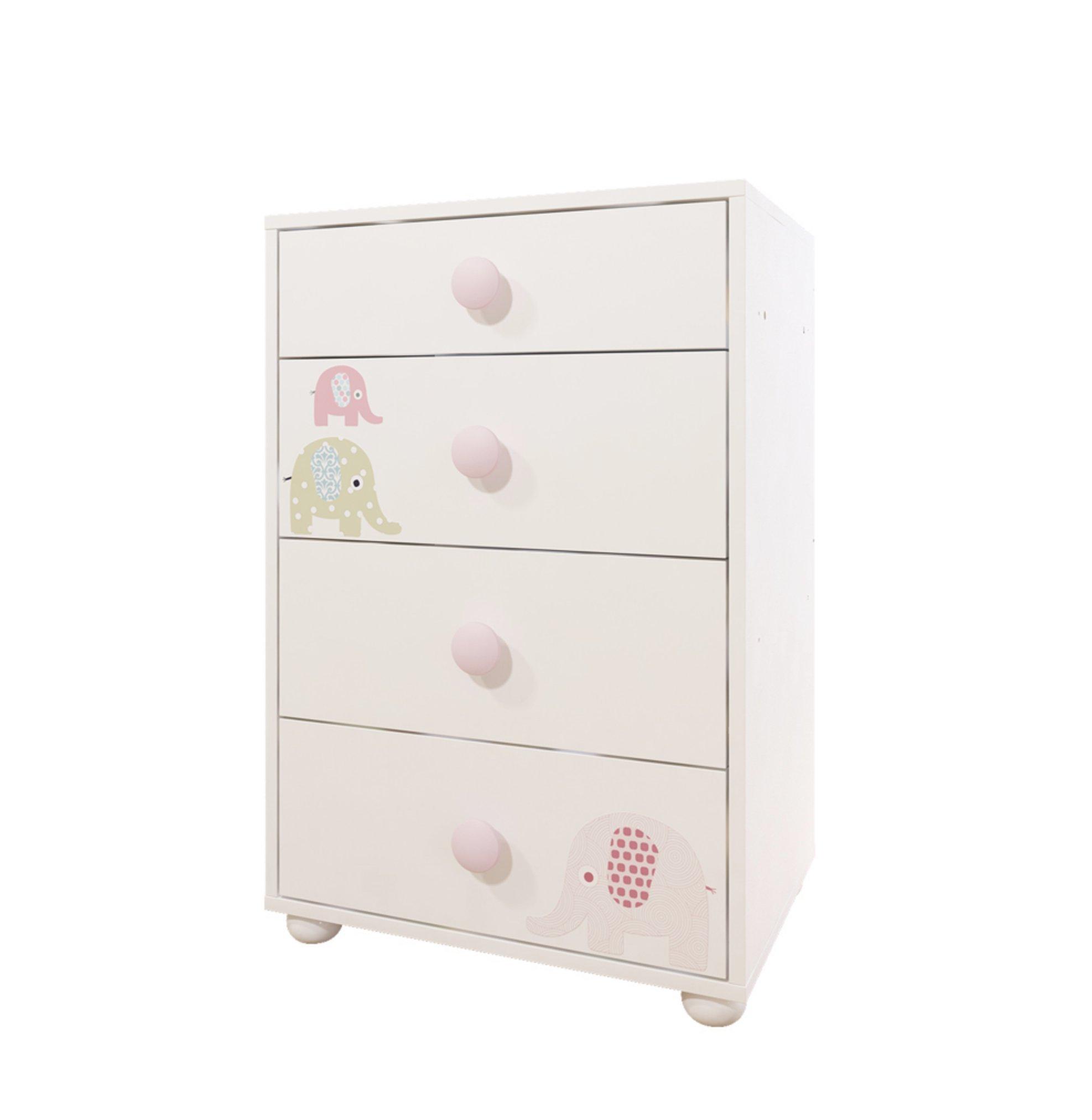 Bony Baby 4-Drawer Chest Nursery Dresser, White with Pink Elephants