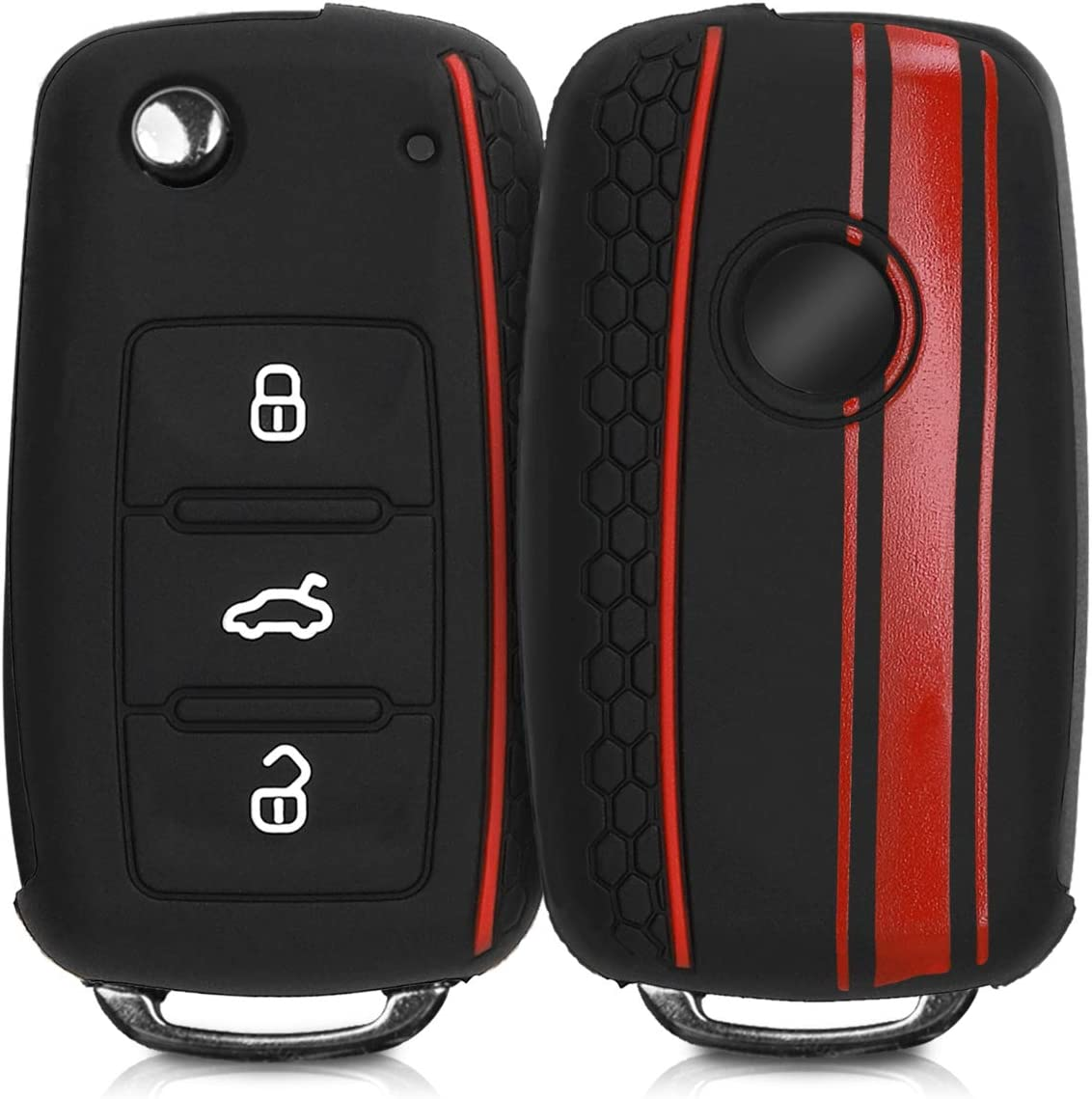 kwmobile Car Key Cover for VW Skoda Seat Rally Stripe Red//Black//Red Silicone Protective Key Fob Cover for VW Skoda SEAT 3 Button Car Key