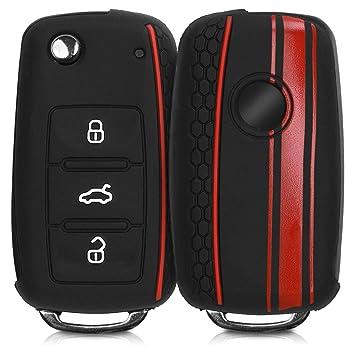 Carcasa Protectora Suave de Silicona kwmobile Funda para Llave de 2-3 Botones para Coche Case de Mando de Auto con dise/ño de Rally