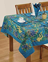 Home Decor Colorful Multicolor Cotton Floral Pattern Rectangular Tablecloths For Dinning Room 60 X 84 Inches Blue Border