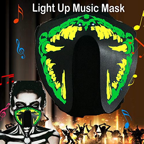 flashingworld Music LED Party Mask With Sound Active For Dancing,Riding,Skating,Party and any Festival (Half Dead Halloween Face)