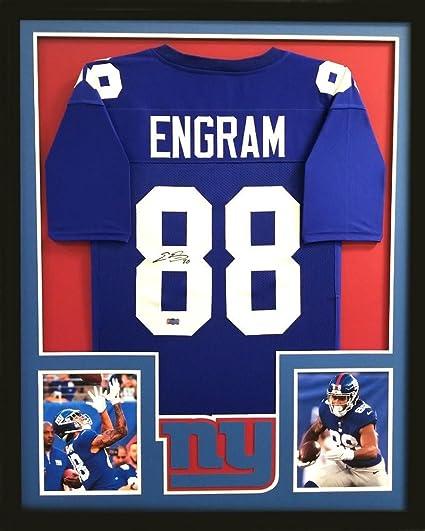 online store 5eebb b2bc6 Evan Engram Autographed Jersey - Framed Blue Custom ...