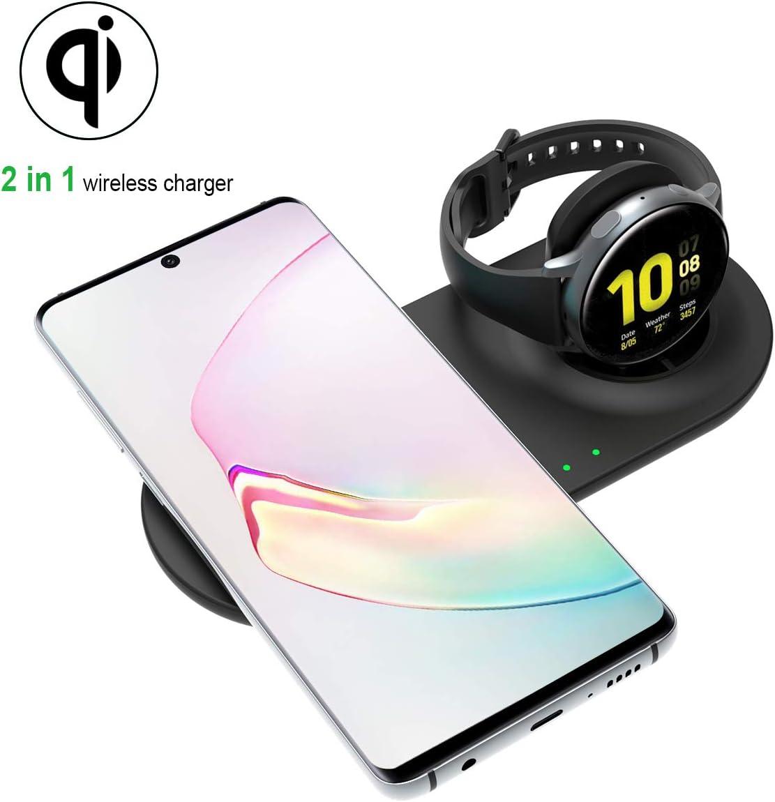 Aimtel - Cargador inalámbrico Compatible con Galaxy Watch, Samsung 2 en 1