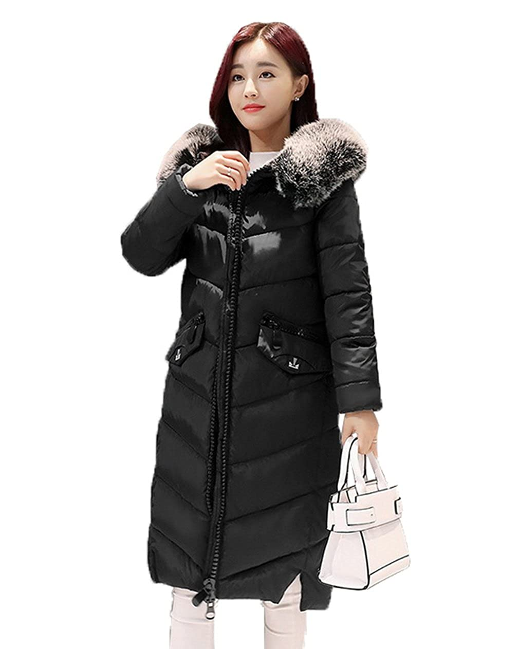 1624d695ed4 COMVIP Women Large Fur Collar Long Korean Quilted Jacket Puffer Coat at  Amazon Women s Coats Shop