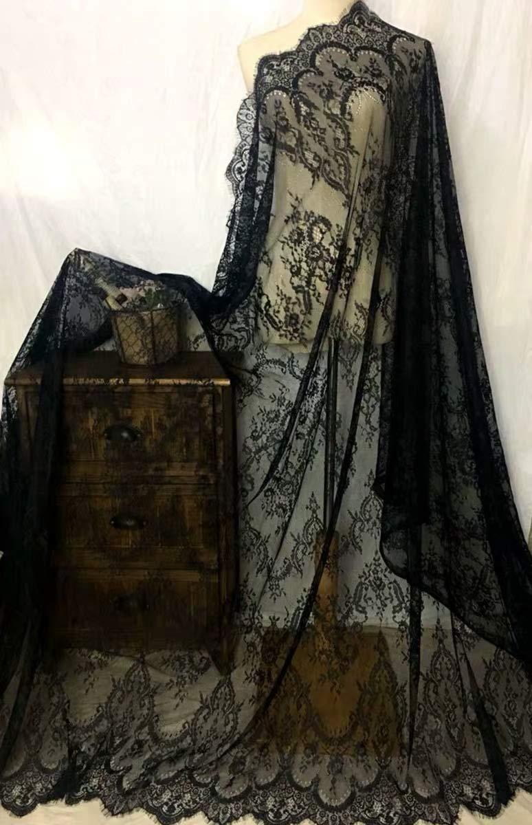 Ivory Lace Fabric Eyelash Chantilly Floral Bridal/Wedding Dress Flower African Lace Table Cloth DIY Crafts Scallop Trim Applique Ribbon Curtains 300cmx150cm ALE02 (Black) by bridallaceuk