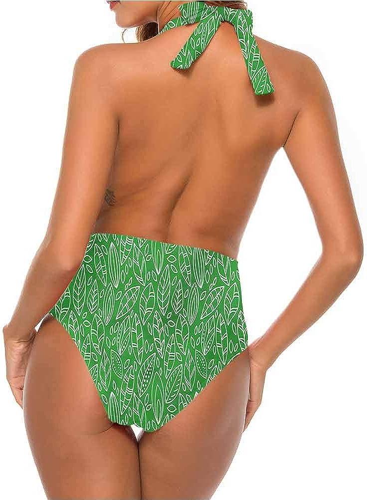 Maillot de bain Triangle Vert Abstrait Algues Nature Style très flatteur Multi 20