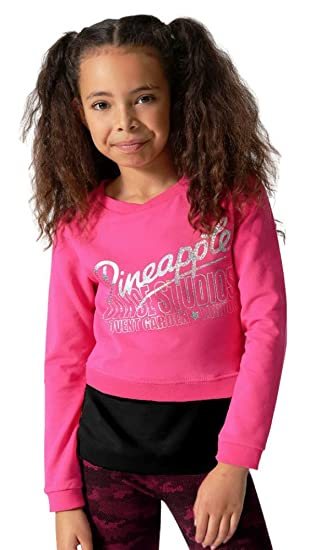 ffe53b1bc55a88 Pineapple DANCEWEAR GIRLS Long Sleeved Double Layer Dance Jumper Top Pink/Black  (Age 11