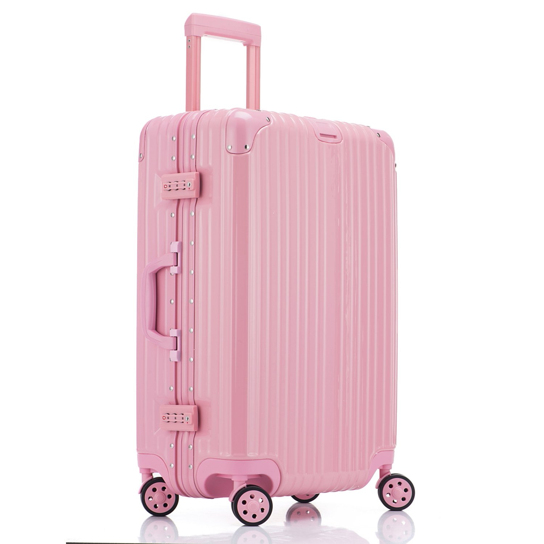 LD スーツケース TSAロック搭載 キャリーケース アルミフレーム 機内持込可 ベルトフック付き 旅行 軽量 8輪 鏡面仕上げ 9颜色 (2XL, ピンク) B0747LDSYC 2XL|ピンク ピンク 2XL
