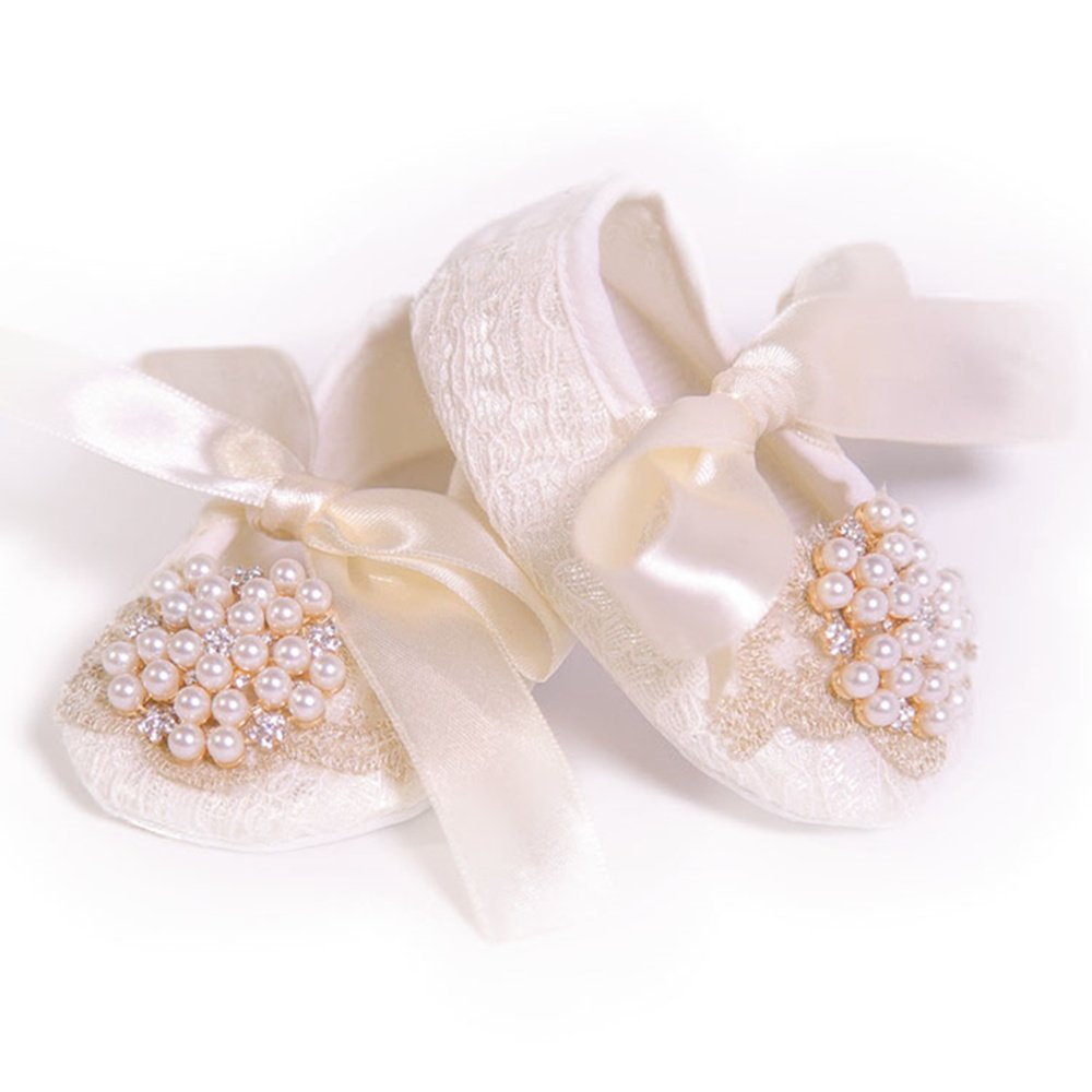 Dollbling Birthday Gift for Princess Baby Girl Pearl Ribbon Bow Christening Handmade Custom Prewalkers, Beige