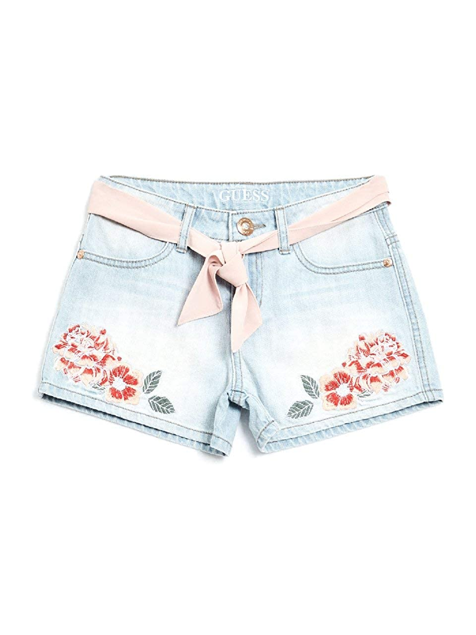 7-16 GUESS Factory Kids Girls Hazel Embroidered Denim Shorts