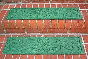 Aqua Shield Scroll Stair Treads, 8.5 by 30-Inch, Light Green, Set of 4
