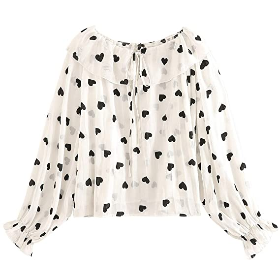 Buy Dishykooker Sexy Long Sleeve Polka Dot Ruched Blouse Top Women V Neck Lace Up Bow Chiffon Shirt Office Ladies Casual Loose Blouses Love 2xl Fashion Girls At Amazon In