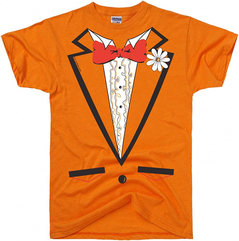 DirtyRagz Men's Orange Vintage Tie Tuxedo Tux T Shirt