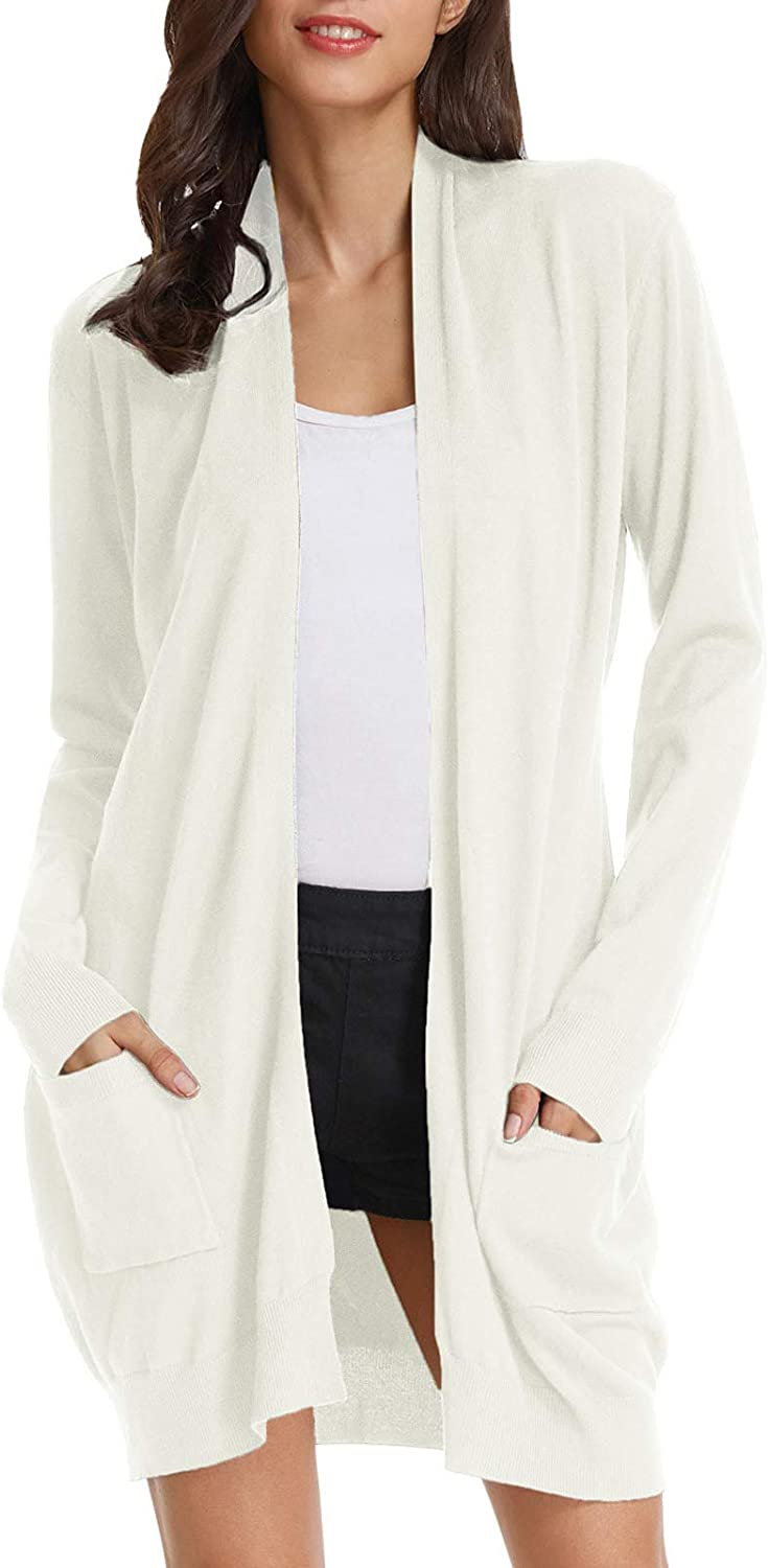 GRACE KARIN Women's Casual Open Front Cardigan Long Knitted Sweaters with Pockets