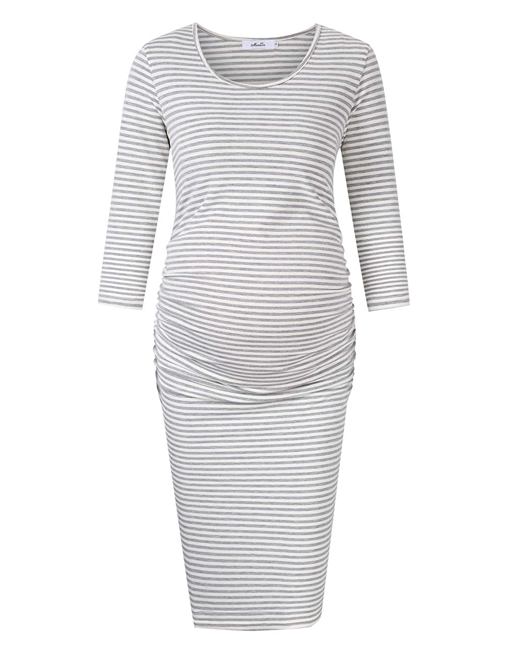 a710a9029e6b5 Coolmee MissQee Maternity Dress Ruched Round Neck Maternity Dresses  X7-H698-8YZA Wear to Work