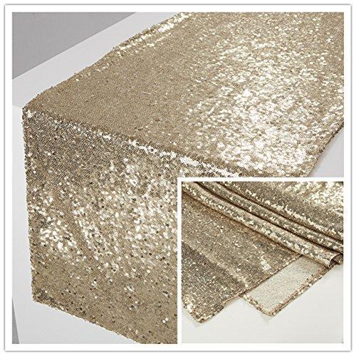 Zdada 5PCS Royal Tea Party Table Runner Sparkly Table Linens-12x108inch Matt Gold