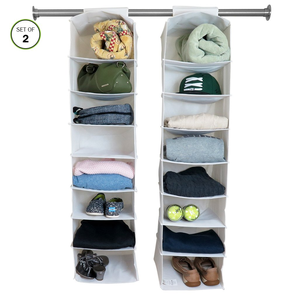 Evelots 16 Shelf Hanging Storage Closet Organizers, White - Set of 2