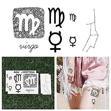 Tatuajes Temporales Tattify - Astrológicos - Virgo (Juego de 14 ...