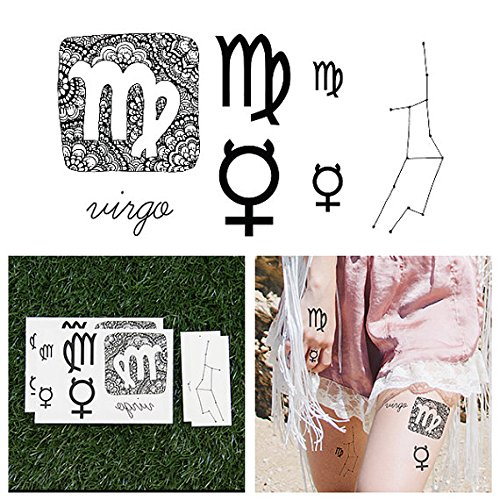 Tattify Astrological Temporary Tattoos - Virgo (Set of 14 Tattoos - 2 of each Style) - Individual Styles Available - Fashionable Temporary Tattoos
