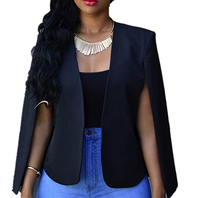 aba1b29b8e4 Cresay Women s Open Slit Sleeve Suit Casual Cape Blazer Jacket-Black-S