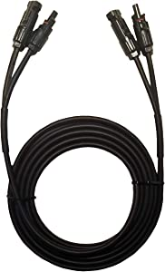 Valemo Home 10 Feet 2x10 AWG Twin Wire Solar Extension Cable with Female and Male Connectors, Solar Panel Cable Wire & Adaptor for Home, Shop and RV Solar Panels.