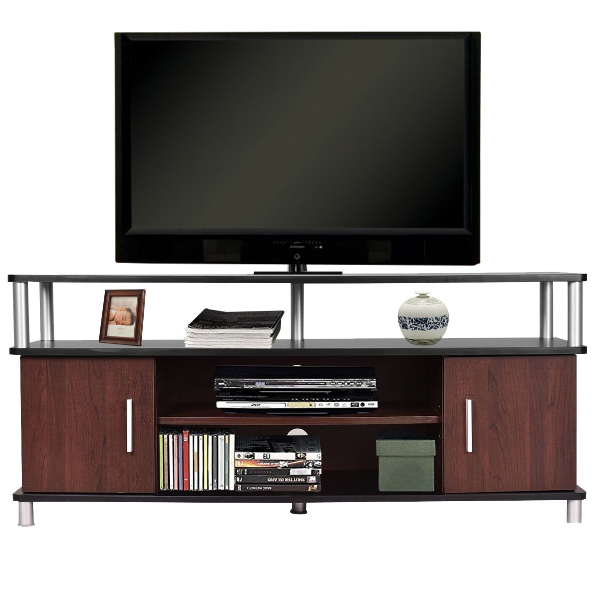 TANGKULA Universal TV Stand Wood TV Media Stand Storage Console with Storage Cabinets & Shelves for Home Office Sturdy & Stable Wood Frame Display Cabinet 47'' Wide TV Entertainment Center Console