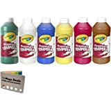 Crayola(R Premier Tempera Paint, Assorted, 16 oz., 6 per Set (Premier Tempera Primary Colors) Green,White,Blue,Yellow,Red,Bro