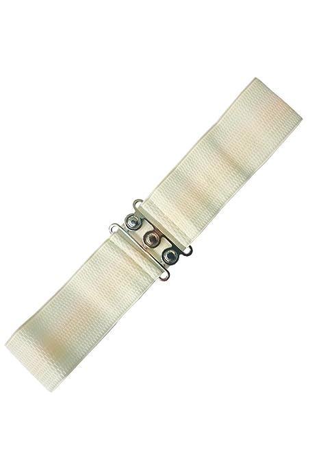 Vintage Wide Belts, Cinch Belts 40s, 50s Belts Banned Vintage Silver Retro Clasp Elastic Wide Stretch Waist Belt $15.75 AT vintagedancer.com