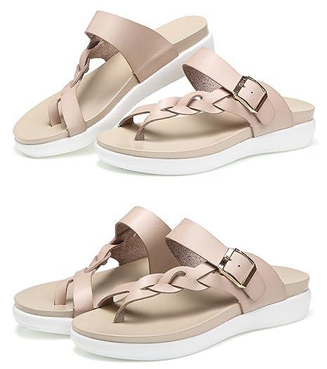 239d2ce1f08 SUKULIS Women Sandals Casual Women Shoes Summer Flat Sandals Fashion Buckle  White Ladies Sandals Beige 4.5