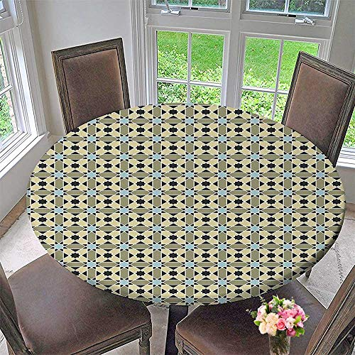 (Luxury Round Table Cloth for Home use and Sun Motifs Stripes Diagonal Ornamental Geometric Checked Tile Pattern Multicolor for Buffet Table, Holiday Dinner 59