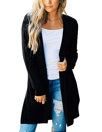 0442b0d5f31f2 MEROKEETY Women's Long Sleeve Open Front Hoodie Knit Sweater Cardigan with  Pockets Black