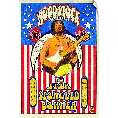 CANVAS ON DEMAND Wall Peel Wall Art Print Entitled Jimi Hendrix Woodstock Star Spangled Banner -