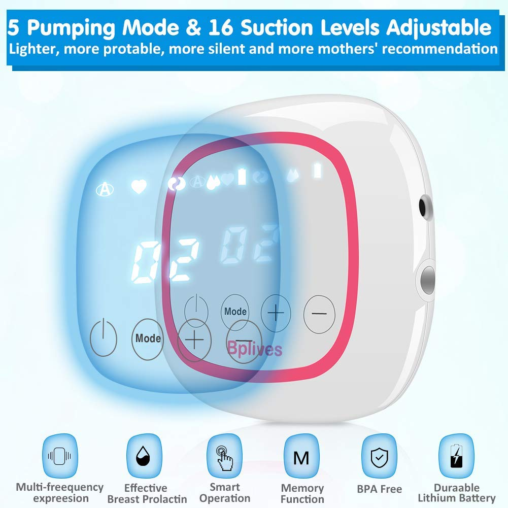 Phileex Electric Pump for Breast Milk Feeding 5 Adjustable Mode /& 16 Pumping Suction Levels for Moms Breastfeeding