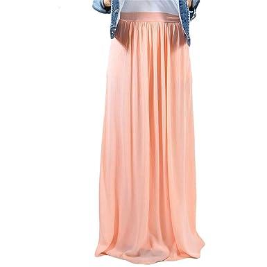 10c5338fc3d1 FJ-Direct Long Casual Pleated Skirt Elastic High Waist Summer Maxi Skirt  Vintage Women Skirt at Amazon Women's Clothing store: