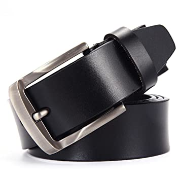 c49380fcb53 Axiba Ceinture en Cuir Broche Boucle Ceinture Simple Mode Casual Pur Cuir  Jeans de Mans