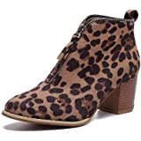 Womens Ankle Booties Liraly Fashion Solid Leopard Zipper Martin Shoes Short Boots