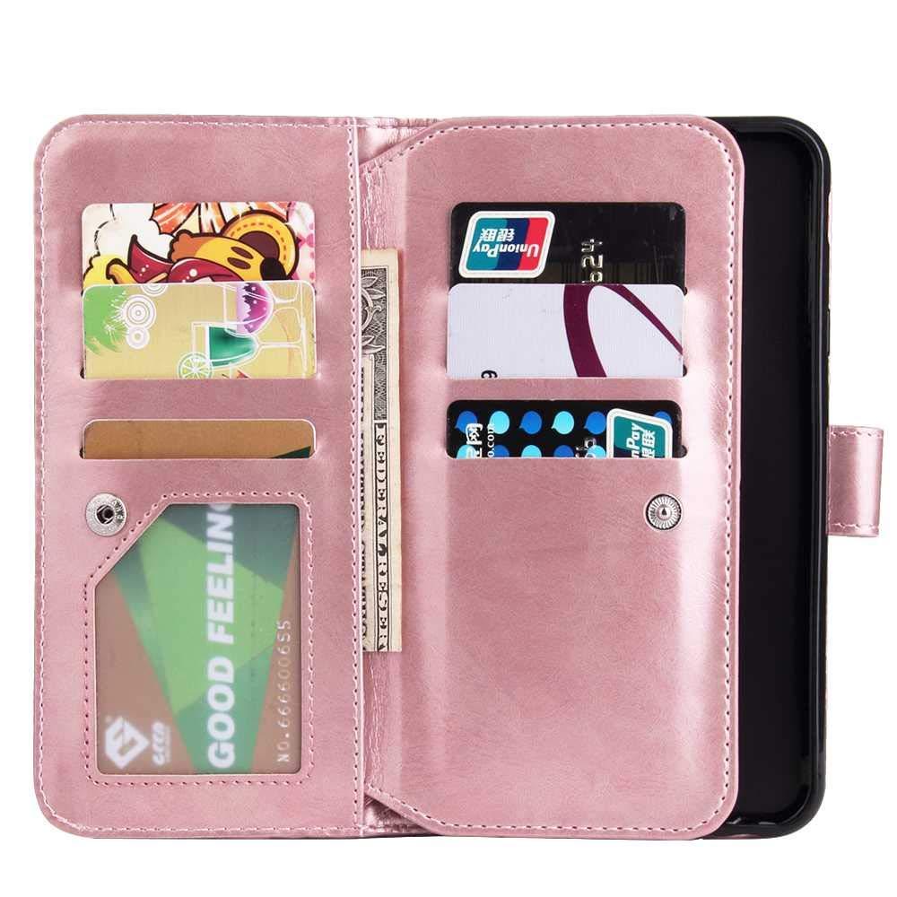 Bear Village/® Flip Caso Libro PU Portafoglio in Pelle #1 Nero Magnetico Chiusura Protettiva Cover con 9 Slot per Card per Samsung Galaxy J4 Plus Cover Galaxy J4 Plus